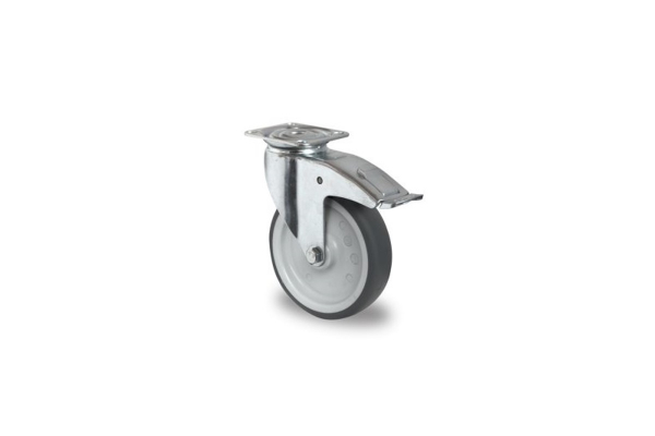 gibljivo kolo z zavoro , Ø 125 mm, termoplastična guma