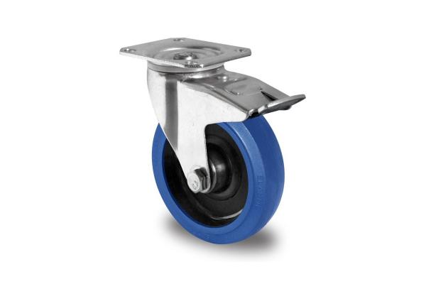 gibljivo kolo z zavoro, Ø 160 mm, elastična guma