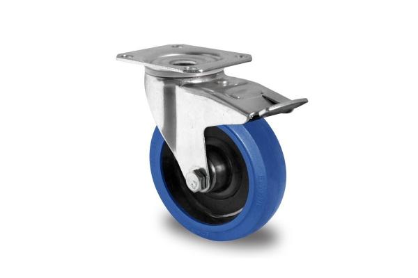 gibljivo kolo z zavoro Ø 125 mm, elastična guma
