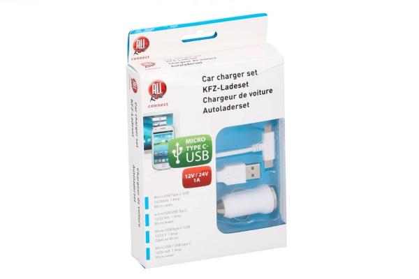 Avtomobilski dvojni polnilec za telefon micro/tip-c USB