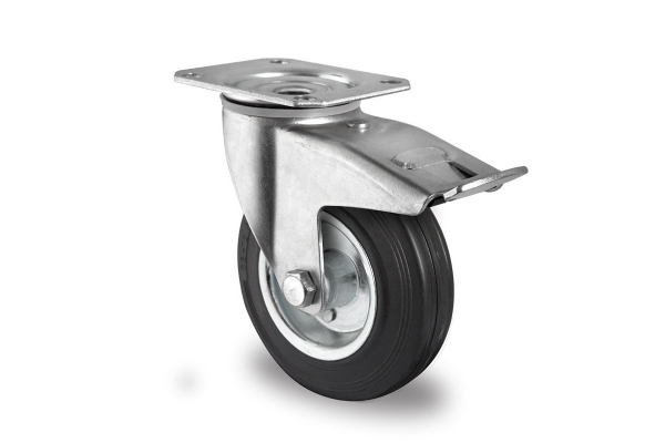 gibljivo kolo z zavoro, Ø 125 mm, navadna guma