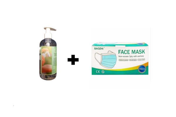 Razkužilo za roke 500ml + zaščitna maska 50kos